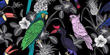 Floral Seamless Pattern. Tropical Birds, Flowers, Fruits, Leaves On Black Background.  Pineapple, Parrots, Toucans.