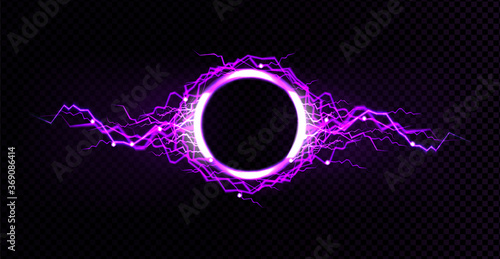 Electric lightning circle with purple glow effect Canvas-taulu