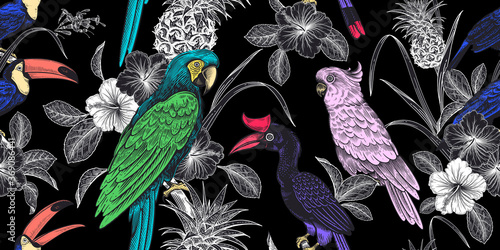 Obraz Floral seamless pattern. Tropical birds, flowers, fruits, leaves on black background.  Pineapple, parrots, toucans. - fototapety do salonu