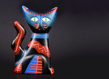Colorful Cat Clay Figurine Sto...
