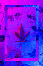 Colorful, Vibrant And Funky, Abstract Glitch Cannabis/marijuana Background With Copyspace