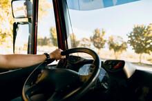 Scene Of A Truck Driver Drivin...