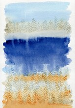 Abstract Watercolor Landscapes In Blue And Yellow Colors