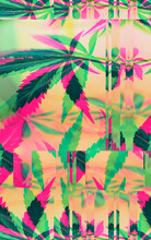 Colorful, Vibrant And Funky, Abstract Glitch Cannabis/marijuana Background