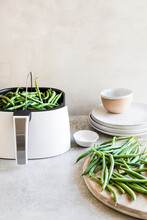 Preparing Green Beans In An Air Fryer Basket And Drawer