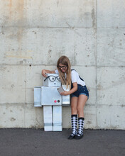 Creative Robot Girl Taking Pho...