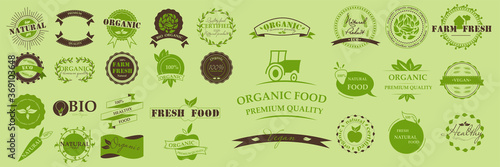 Organic food, farm fresh and 100% natural product, icons, eco, bio, organic,healthy, vegan  and elements collection for food market. Collection of emblem cafe, badges, tags, packaging. Vector