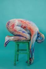 Model With Body Art Kneeling O...