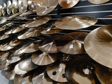 Various Cymbals On Display At Music Store