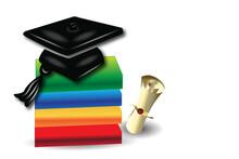 Graduation Card Books Diploma And Hat Logo Vector Image