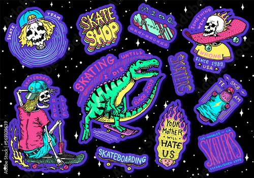Skateboard shop stickers set. Dinosaur and skeletons ride on the boards badges. Fiery head and skull. Vintage retro labels for t-shirts and typography. Hand Drawn engraved sketch.
