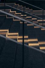 Sunlight On Gray Stone Stairs