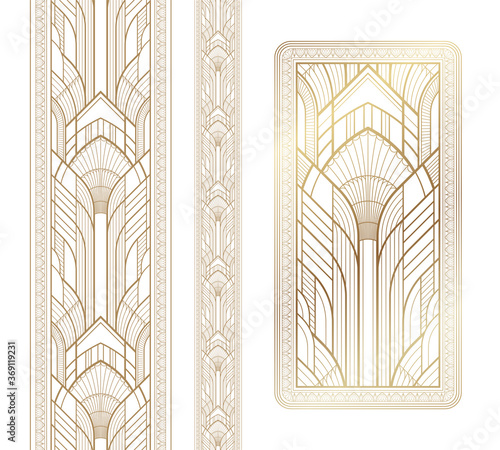 Fototapeta Gold art deco panel and border with ornament on white background obraz