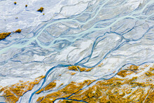 Aerial View Of Glacial Carved Alaskan Rivers