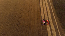 Agricultural Machines During Harvesting In Field