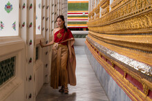 Asian Woman Visiting A Temple ...