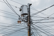 Mess Of Power Lines And Transformer