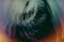 Prismatic Images Of A Woman Dressed As A Skeleton For Halloween