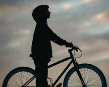 Teenage Boy With Bike Silhouette