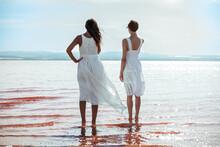 Cute Women Wearing White Dress...