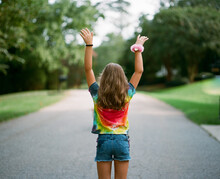 Young Girl Wearing A Tie-dye S...