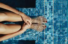 Beautiful Woman Swim In Pool