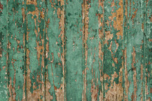Old Wood Wall With Green Paint...
