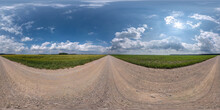 Full Spherical Seamless Hdri Panorama 360 Degrees Angle View On No Traffic White Sand Gravel Road Among Fields With Clear Sky With Beautiful Clouds In Equirectangular Projection, VR AR Content