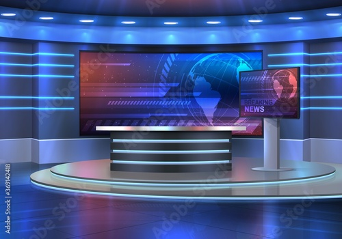 Fototapeta Studio interior for news broadcasting, vector empty placement with anchorman table on pedestal, digital screens for video presentation and neon glowing illumination