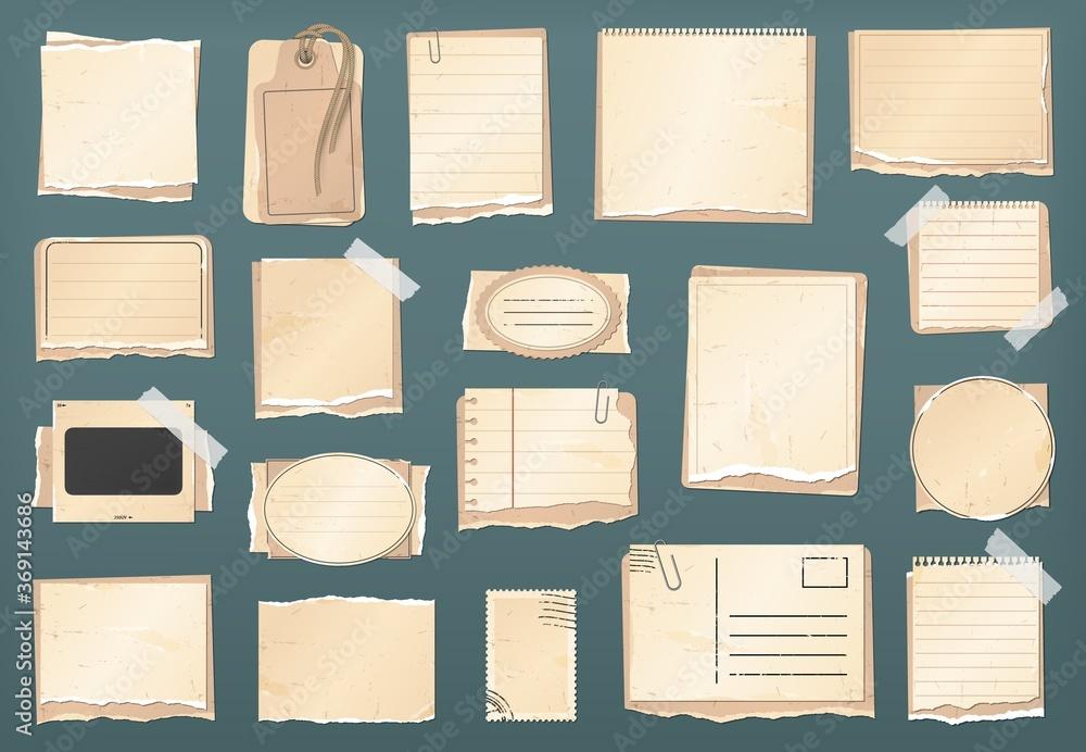 Fototapeta Scrapbooking vintage paper set, scrapbook stickers, old torn paper notes and retro antique labels, vector frames. Scrapbook torn paper scraps, tag, notes and grunge cardboard postcard with stamp