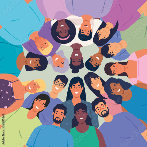 Fototapeta multiethnic big group of people together, diversity and multiculturalism concept obraz