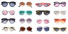 Collage With Different Stylish Sunglasses On White Background. Banner Design