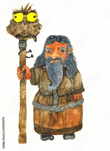 watercolor illustration of a forest man from myths Fototapeta