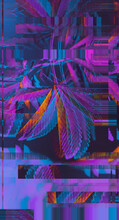 Colorful, Vibrant And Funky, Abstract Glitch Cannabis/marijuana Background/pattern