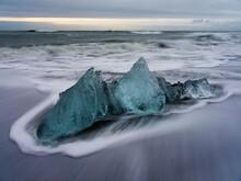 Ice Block On Ice Beach In Icel...