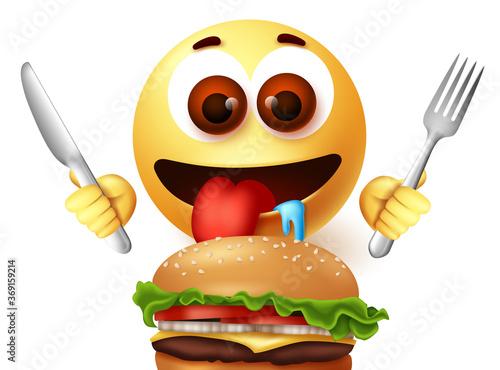 Valokuvatapetti Emoji smiley eating hamburger character vector design