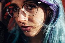 Beautiful Blue Haired Lady With Glasses And Piercing