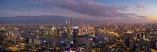 High Angle View Of Illuminated...