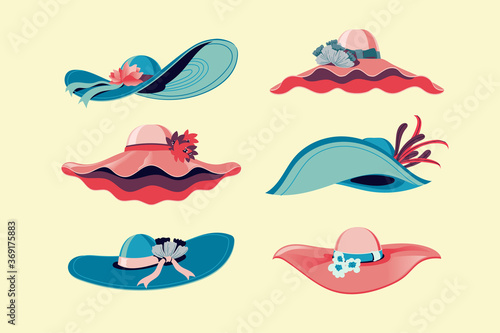 Fotomural Colorful Kentucky Derby Hats Set Vector Illustration
