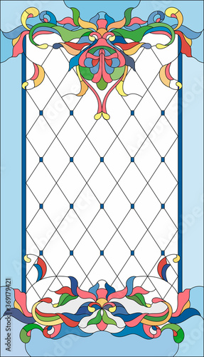Naklejka kwiaty na szybę  stained-glass-panel-in-a-rectangular-frame-abstract-floral-arrangement-of-buds-and-leaves