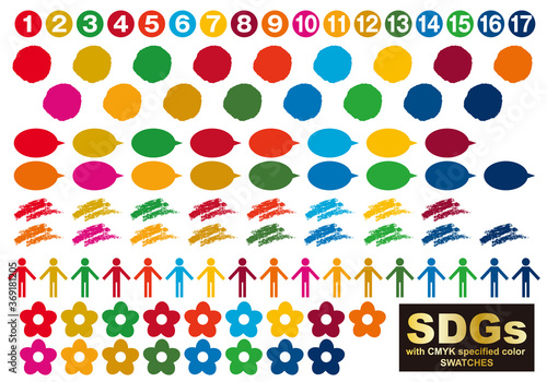 Photo SDGs CMYK指定色(スウォッチ付)アイコンセット1