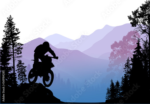 Photo composition with bikers in moumtains between trees