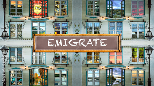 Street Sign to Emigrate Canvas Print