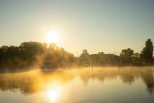 Müritz Lakes In A Foggy Sunrise Morning