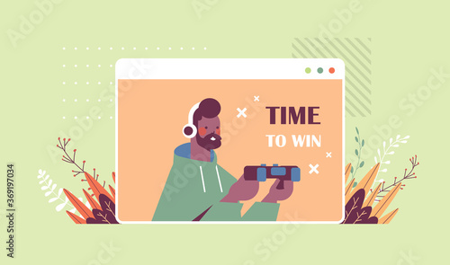 Obraz young man in headphones playing video games african american guy having fun web browser window horizontal portrait vector illustration - fototapety do salonu