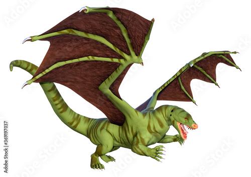 Obraz 3D Rendering Fairy Tale Dragon on White - fototapety do salonu