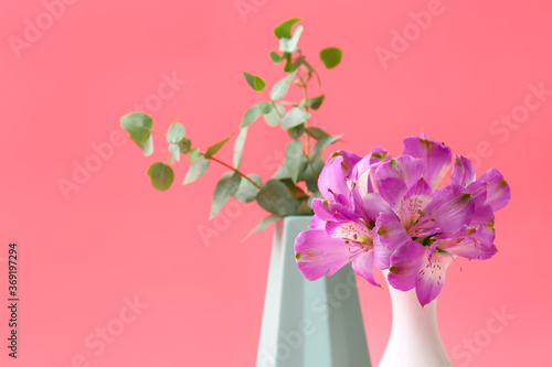 Fototapety, obrazy: Beautiful vases with flowers on color background