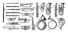 Music Instrument Collection Of Wind Instruments - Vintage Engraved Vector Illustration From Petit Larousse Illustré 1914