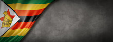 Zimbabwe Flag On Concrete Wall...