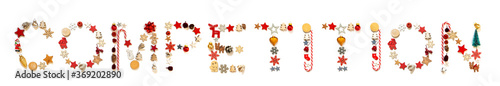 Photographie Colorful Christmas Decoration Letter Building English Word Competition